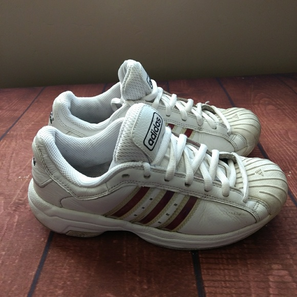 adidas Shoes | White Leather Tennis Red
